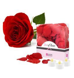 Erotické dárkové sady - Bed of Roses Červené okvětní lístky růží + 3 svíčky - E22002