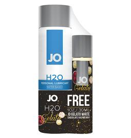 Lubrikační gely na vodní bázi - JO Set H2O lubrikační gel 120 ml + Gelato white chocolate raspberry 30 ml - E31614